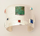 Emilia Castillo Sterling Cuff with Semiprecious Stones