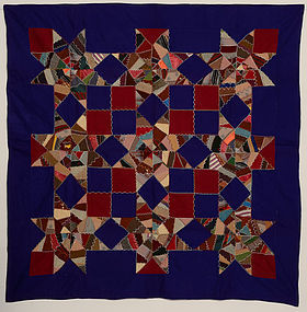 Mennonite Touching Stars Quilt: Circa 1890; Pennsylvania