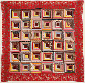 Calico Log Cabin Quilt: Circa 1880; Pennsylvania