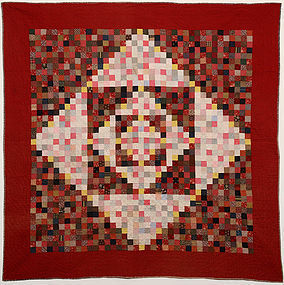 One Patch Diamond in Square Quilt: Circa 1880; Pa.