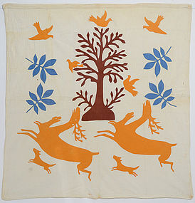 Stag and Hounds Folk Art Quilt: Circa 1870; Pennsylvania