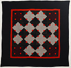 Light and Dark Mennonite Log Cabin Quilt: Ca. 1890; Pa.