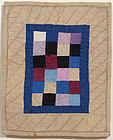 Ohio Amish One Patch Doll Quilt: Circa 1920