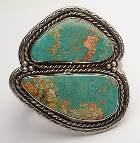 Native American Large Two Stone Turquoise Cuff Bracelet
