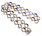 Silver and Blue Enamel Modernist Long Necklace: Circa 1960's