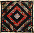 Barnraising Log Cabin Quilt with Herringbone Border: Ca. 1880