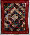 Barnraising Log Cabin Quilt: Dated 1900