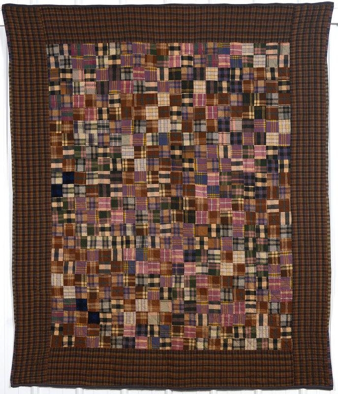 Plaid One Patch Quilt: Circa 1920; Pennsylvania