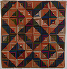 Light and Dark Log Cabin Quilt: Circa 1870