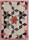 Tumbling Blocks/Stars Doll Quilt: Circa 1880; Pennsylvania