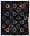 Wool Mennonite Hexagons Quilt: Dated 1935; Pennsylvania