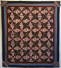 Mennonite Windmill Blades Log Cabin Quilt: Circa 1870; Pennsylvania
