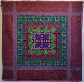 Lancaster County Amish Nine Patch Quilt: Circa 1930's