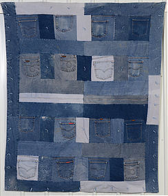 Denim Quilt with Jeans Pockets: Circa 1980