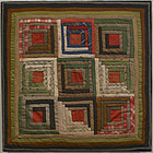Log Cabin Cradle Quilt: Circa 1870
