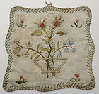 Early Embroidered Table Mat: Circa 1800