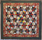 Tumbling Blocks/ Stars Quilt: Circa 1880; Pennsylvania
