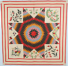 Lone Star Quilt with Applique: Dated 1857; Maryland