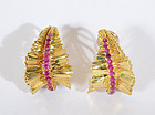 Tiffany Gold and Ruby Leaf Earrings: Circa 1960