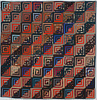 Straight Furrows Log Cabin Quilt: Circa 1870; Pennsylvania