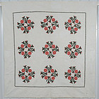 Floral Wreaths Quilt with Sawtooth Border: Circa 1850; Pa.