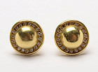 Barry Kieselstein Cord Gold Domed Earrings with Diamonds