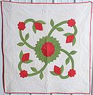 Rose of Sharon Applique Crib Quilt: Circa 1870; Pennsylvania