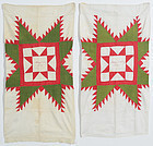 Pair of Feathered Star Pillow Cases: Signed & Dated 1867; Pa,