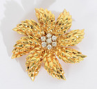 Tiffany Gold Swirling Petals Flower Brooch: Circa 1960
