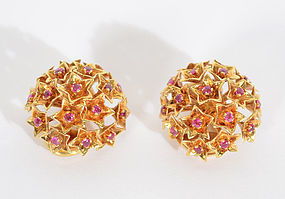 Tiffany and Co. Gold Dome Earrings with Rubies: Circa 1960