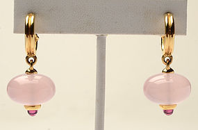 Paloma Picasso Rose Quartz and Tourmaline Drop Earrings; Circa 1990