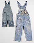 Patched and Embroidered Denim Overalls: Circa 1950