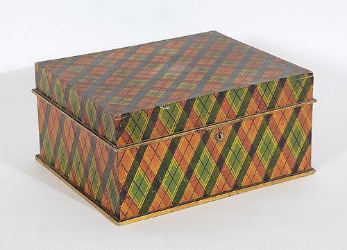 Tartan Plaid Painted Box in Original Paint: Circa 1870's