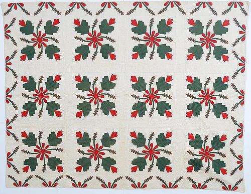 Cockscomb and Currants Quilt: Circa 1870; Missouri