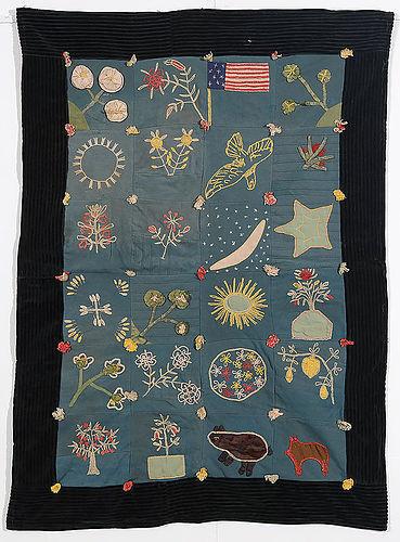 Folky Sampler Crib Quilt with American Flag: Ca. 1920; Massachusetts