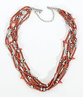 Coral and Silver Native American Necklace