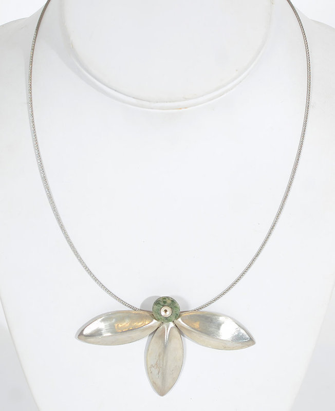 Agnes Seebass Silver Necklace with Ancient Mexican Jade