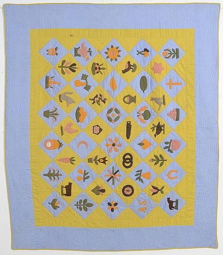 Folky Sampler Quilt: Dated 1893; Pennsylvania