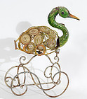 Make-Do Metal Sculpture of Swan: Circa 1930