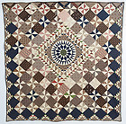 Mariner's Compass Center Medallion Quilt: Circa 1860