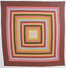 Concentric Squares Quilt: Signed and Dated 1889; Pennsylvania