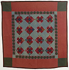 Lancaster County Amish Double Nine Patch Quilt: Circa 1920