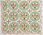 Folky Baskets of Flowers in Wreaths Quilt: Circa 1860