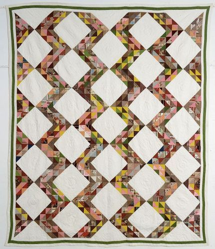 Streak of Lightning Quilt: Circa 1870; Pennsylvania