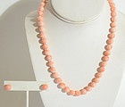 Coral Beads Necklace and Earrings