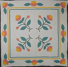 Water Lilies Quilt: Circa 1920; Pennsylvania
