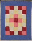 Sunshine & Shadow Amish Doll Quilt: Circa 1930; Pa.