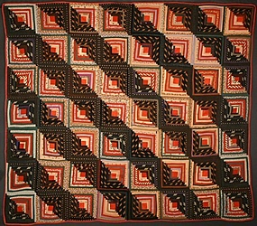 Straight Furrows Log Cabin Quilt: Ca.1870; Pa.