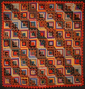 Straight Furrows Log Cabin Quilt: Circa 1870; Pa.