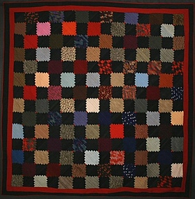 Wool Courthouse Steps Log Cabin Quilt: Circa 1890; Pa.